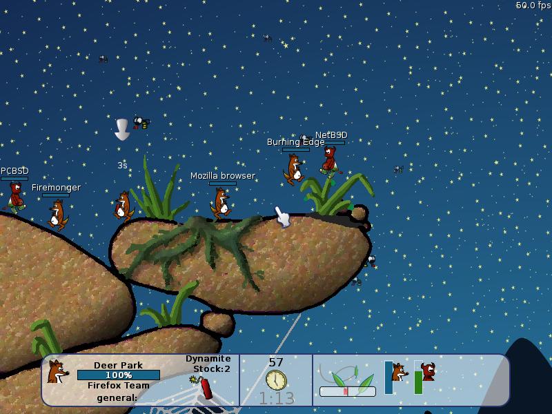 Wormux мини игра под MAC OS